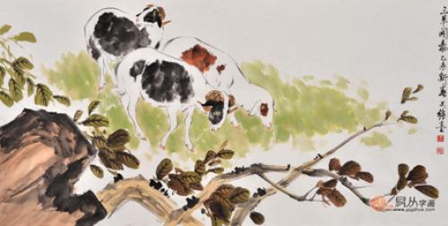 国画大师王文强动物画作品《三羊开泰》  作品来源:易从字画