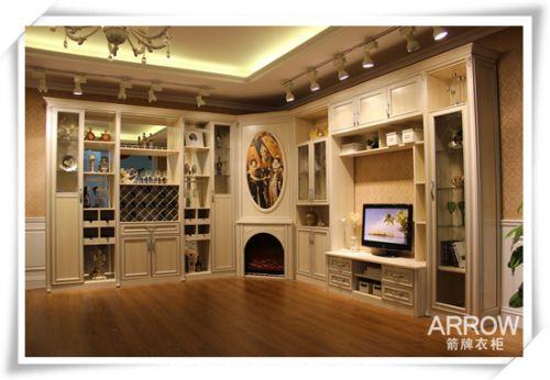 箭牌定制衣柜效果图——圣卡罗系列组合柜电视柜,壁炉柜,酒柜巧妙结合