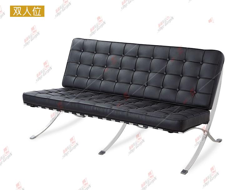 黑白经典真皮巴塞罗那椅 办公真皮沙发椅 barcelona chair设计图片